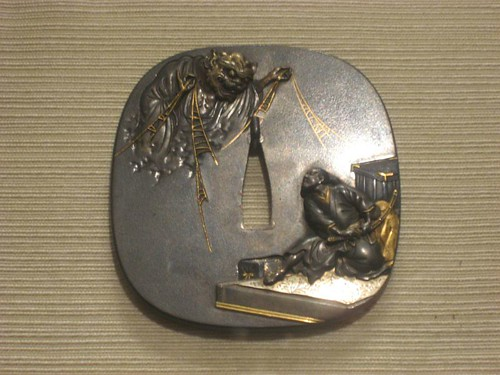 Tsuba with Design of Minamoto no Yoritomo Confronting the Tsuchigumo