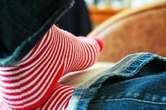83/365 put your feet up (obo-bobolina) Tags: red portrait selfportrait london feet socks self stripes hannah sofa rainy sp denim 365 friday comfy 365days wgite futab