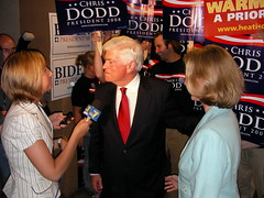 Chris Dodd talks with the media
