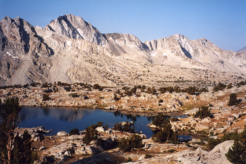 Looking south into lake-side camp in Dusy Basin