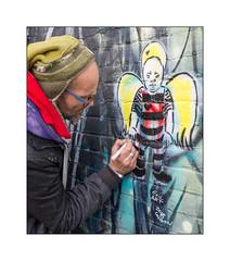 Street Art (Exil Art), East London, England. (Joseph O'Malley64) Tags: exil exilstreetart berlin streetart urbanart graffiti eastlondon eastend london england uk britain british greatbritain art artist artistry artwork angel mural muralist wallmural wall walls brickwork bricksmortar pointing paintpen aerosol cans spray paint freehand urban urbanlandscape