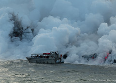 A little too close for comfort (Doreen Bequary) Tags: boattour kilauea volcano lava lavaflowinocean ocean d500 afs200500mm hawaii bigisland kalapana eruption steamflow boat