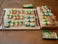 The full spread of the dessert sushi!