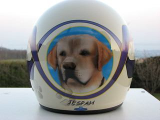 Jespah on Daddy's Helmet