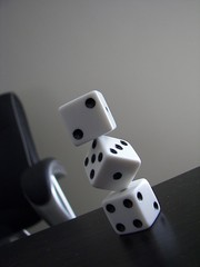 Stacking Dice (melodramababs) Tags: bw white black lifelist balance patience steadyhand stackingdice