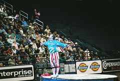 678503-R1-039-18_019 (katejcornwell) Tags: entertainment pbr okc starsandstripes showoff redwhiteblue tiptoes rodeoclown fordcenter flintrasmussen lis5403sp09 clownonstage