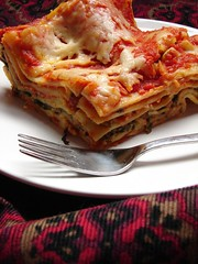 Lasagna (Adventuress Heart) Tags: food toronto cooking cheese recipe cuisine baking italian sauce rustic pasta fresh delicious v homemade chow vegetarian culinary spinach feta lasagne lasagna foodie supershot adventuressheart