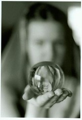 mystic ball (celticwheel64) Tags: reflection girl blackwhite crystalball