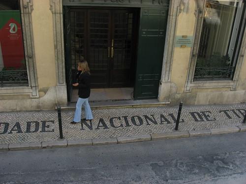 Outside the Sociedade Nacional de Tipografia building in Lisboa.
