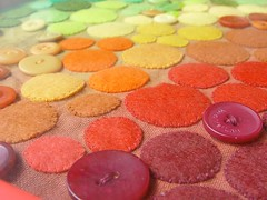 drought relieft - felt art closeup (a little bit of just because) Tags: art paint framed felt button handsew