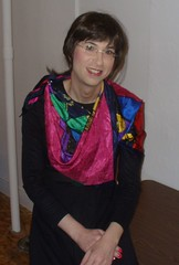 Using a scarf to add interest to a black dress (Kunigunde) Tags: me scarf transgender 2007