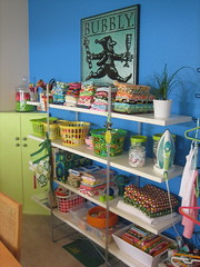 sewing room (Messaround) Tags: blue fun polkadots fabric organization organized bibs sewingroom messaround