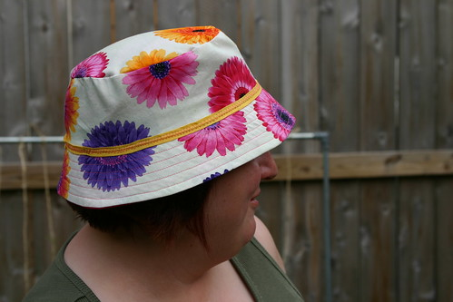 Side view of the finished hat