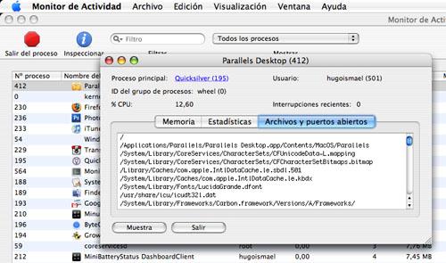 Monitor de actividad en Mac OS X