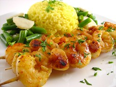 Grilled shrimp & scallop skewers (Sashertootie) Tags: dinner shrimp grill homemade greenbeans scallop skewers