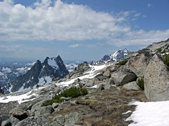 Argonaut, Sherpa, and Stuart from the Colchuck Plateau.
