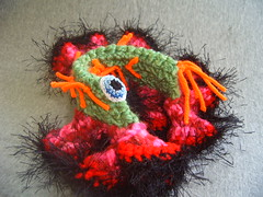 Hyperbolic Caterpillar Of Doom Front (Knot By Gran'ma) Tags: sculpture art toys dolls caterpillar hyperboliccrochet