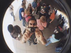 bean sculpture 4 (photographer included) (armeen) Tags: friends sculpture selfportrait chicago color reflection art me illinois lomo downtown sandra 2006 bean milleniumpark fisheye lomofisheye beansculpture armeen
