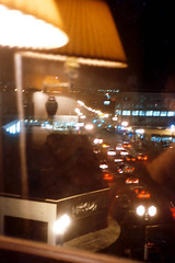 Hotel Window, Nighttime View, Portland Oregon (Russell_Collages) Tags: reflection lamp night streetlights carheadlights