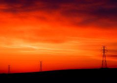 Red Storm Rising (Todd Klassy) Tags: city morning light sunset red sky orange sun color colour tower industry lines silhouette horizontal wisconsin clouds sunrise landscape outdoors fire dawn evening soleil energy industrial glow technology power dusk ominous horizon utility nobody line pylon business growth powerlines madison future infrastructure electricity hanging orangesky suburbs backlit redsky copyspace dawning electrical dramaticsky hue wi transmission lattice distribution highvoltage electricitypylon powergrid stockphotography fitchburg transmissiontower energyconservation suspensiontower electricalcompany builtstructure electricalservice steellattice fitchburgwisconsin powerindustry electricaltransmissiontower toddklassy tdworld electricalenergyproduction
