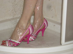 Pink strappy sandals (HHL) Tags: wet wearing high shoes highheels heels postyourshoes heelsformen