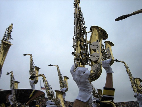 View of saxophones being held up by the bottom of the instrument by the gloved hands of the players in the marching band