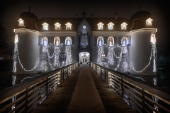 Bottmingen Castle (Nighley) Tags: castle christmas lights bottmingen switzerland dark night bridge brown white yellow