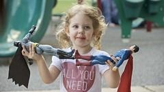 All you need . . . (Pejasar) Tags: batman superman chocolatecakelipstick girl granddaughter playground park birthdayparty fun play child curlyhair blueeyes heart allyouneed