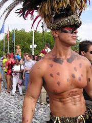 (Jo Howells-Mead) Tags: zurich streetparade bodypaint switzerland pecs feathers warpaint