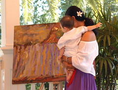 looking at a painting (jen clix) Tags: darcyswedding healdsburg california baby motherchild painting reception mexicandress
