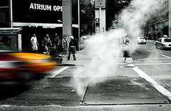Outta MahWay (Ali Brohi) Tags: road street city nyc newyorkcity people newyork motion cars catchycolors blurry traffic manhattan cab smoke sharp pedestrians crosswalk cabby lifeislike vechiles seedingchaos moazzambrohicom httpwwwmoazzambrohicom wwwmoazzambrohicom