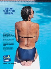 She's not your typical librarian (library_mistress) Tags: woman swimming library bibliothek humor humour advertisement librarian earplugs bibliothekarin ohrstpsel