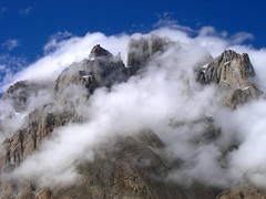 Spires of Cathedral (Kelly Cheng) Tags: pakistan sky cloud nature horizontal fog outdoors photography day nopeople getty scenics mountainrange tranquilscene mountainpeak beautyinnature highangleview baltoroglacier pickbykc