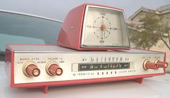 old fashioned sanyo transistor radio in pink