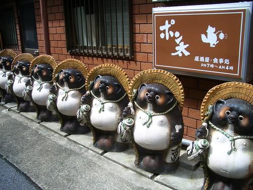 Strange entities outside a restaurant, near Asakusa, Tokyo
