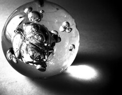 glass ball (macca) Tags: crystalball darkness shadows bw almostsquaredcircle glassball