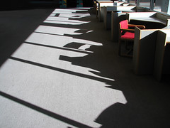 day in the life: morning (emdot) Tags: shadows chairs interior desks academic libslibs librariesandlibrarians dilosept05 dilosep05 intheshadowutata utatadrawslines ll100