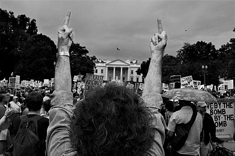 Anti-War Protests in Washington DC - I. Anti-War Protester showing his
