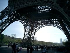 underneath the eiffel tower (insunlight) Tags: paris france monument silhouette europe scaffolding snapshot eiffeltower springbreak toureiffel underneath studyabroad upshot