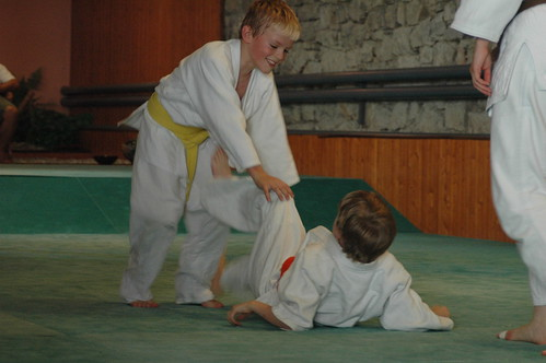 two boys doing Judo