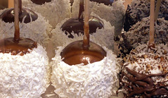 Caramel Coconut and Caramel Coconut Nuts and Chocolate Candy Apples (Sister72) Tags: candy apples shadows white chocolate cocoanut rockyroad applesonastick rockymountainchocolatecompany longbranch nj yummy halloween treats caramel seasons