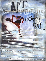 the art of running downhill (Kelly Angard) Tags: woman art girl collage female think journal fast running downhill enjoy easy artjournal kellya mixedmediaart kellyangard thecraftygirl kellyafineartphotography