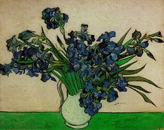 Iris bleus en vase(Van Gogh)
