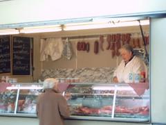 Butcher's booth (tiexano) Tags: geotagged market sausages wurst osnabrück streetmarket wochenmarkt