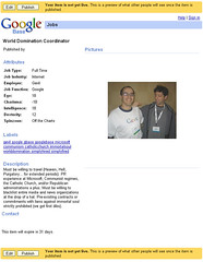 GoogleBase Job Listing: World Domination Coordinator