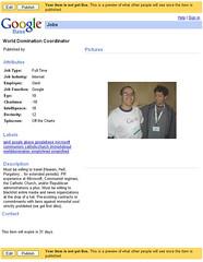 GoogleBase Job Listing: World Domination Coordinator