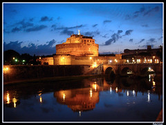 CASTLE SANT'ANGELO (lightpaint) Tags: italy roma reflection water night lights italia castel santangelo