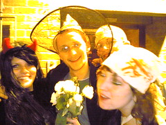 Waiting for a cab (OwenBlacker) Tags: cameraphone london halloween me moblog phonecam vauxhall nokia6680 llundain owenblacker