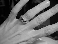 My hand (Librarianguish) Tags: bw home me hand skin feminine fingers ring 200 photofriday 100 celtic 300 knuckles oct2005 bony photofridayfeminine