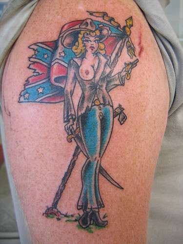 (Pin Up Hottie Tattoos Southern Bell With Confederate Flag Tattoo)